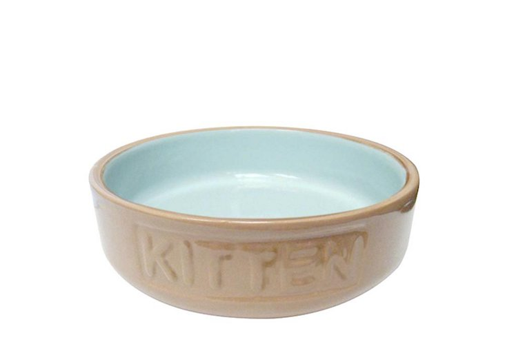 Set of 2 Kitten Bowls, Cane/Blue