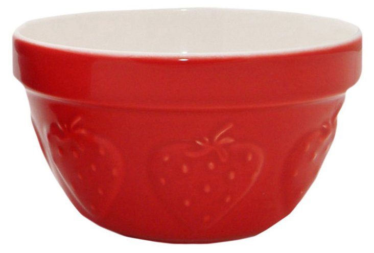 S/2 Ceramic Mixing Bowls, Strawberry