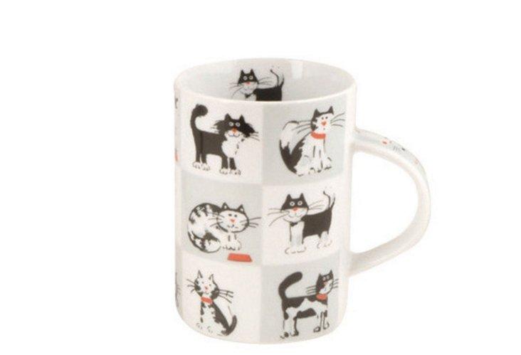 Set of 4 Chequered Cats Mugs