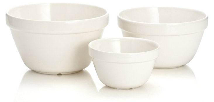 S/3 Assorted Mixing Bowls, White