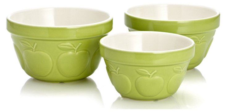 S/3 Assorted Mixing Bowls, Apple