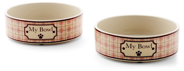 S/2 Small Country Bowl, Brown/Pink