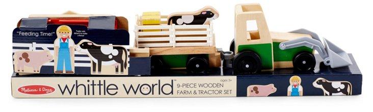 9-Pc Wooden Farm & Tractor Set