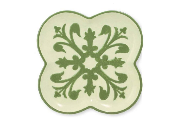 S/4 Suzani Clover Plates, Green