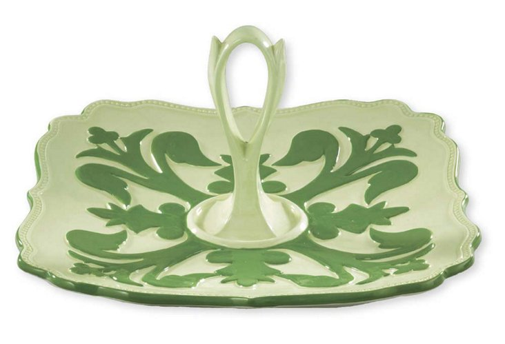 Suzani Clover Sweets Tray, Green