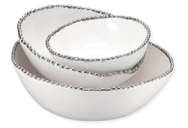 S/3 Asst. Ceramic Studded Bowls, Silver