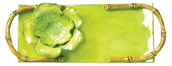 Hand-Painted Crudités Tray, Lime