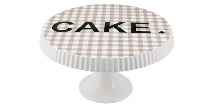 """Gingham Footed """"Cake"""" Plate, Brown"""