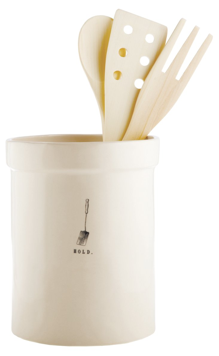 Utensil Holder, Cream