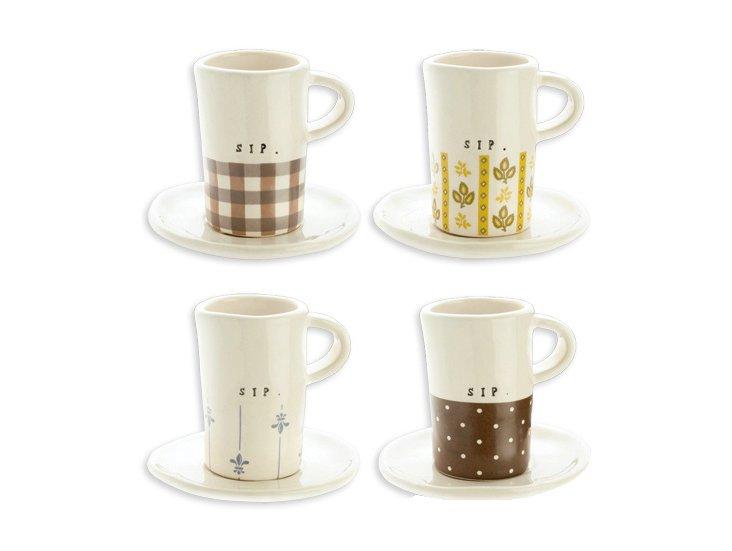 S/4 Assorted Espresso Cups & Saucers
