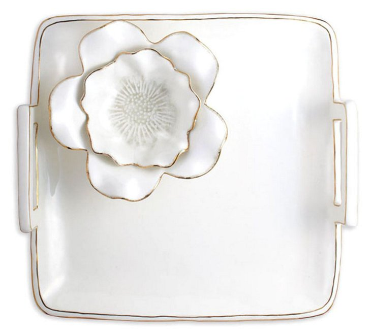 Ceramic Flower Chip & Dip Tray, White