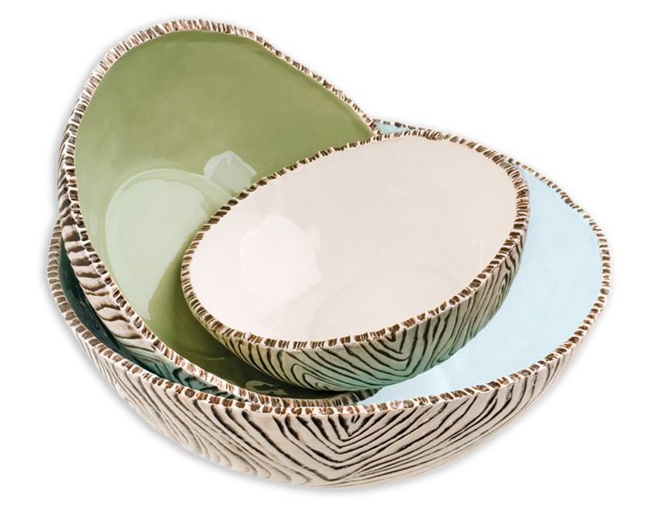 S/3 Asst. Ceramic Birch Stacking Bowls