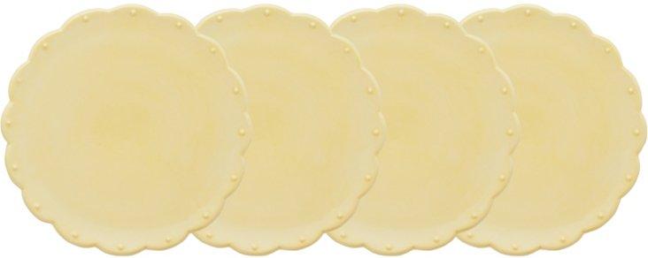S/4 Scallop Dessert Plates, Yellow