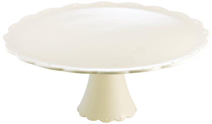 Scallop Cake Plate, White
