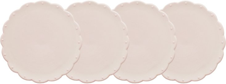 S/4 Scallop Dessert Plates, Petal Pink