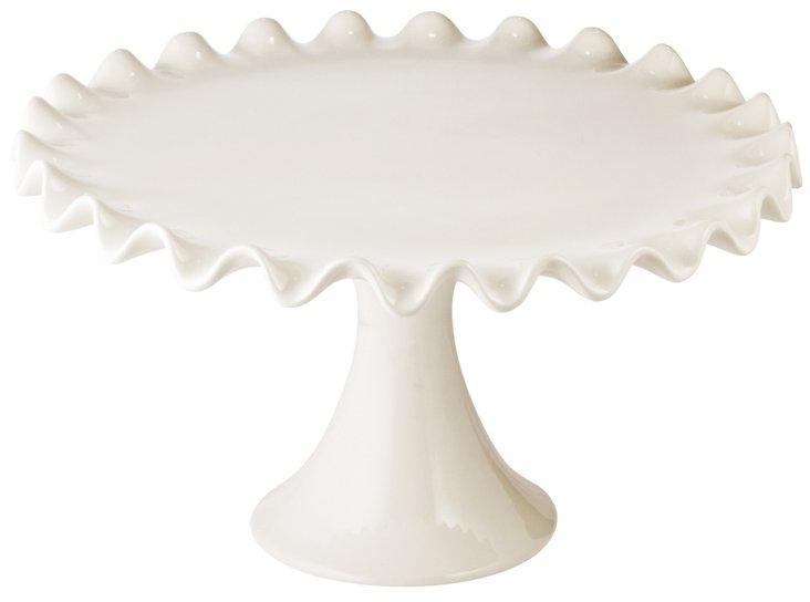 Large Ruffle Cake Pedestal, White