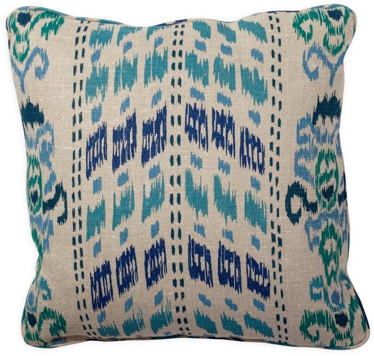 Ikat Crazy Blue Pillow