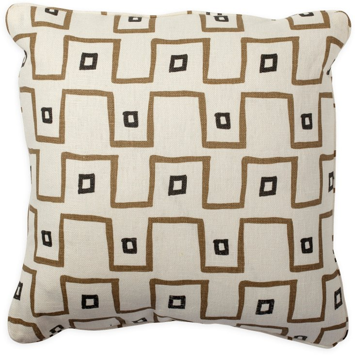 Kuba Cloth Taupe Pillow