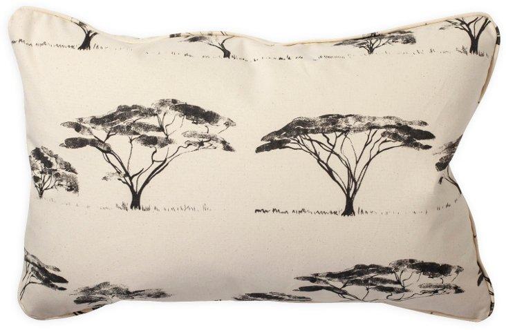 Botswana Trees Charcoal Pillow