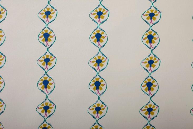 Hand-Screened Samode Blue Wallpaper