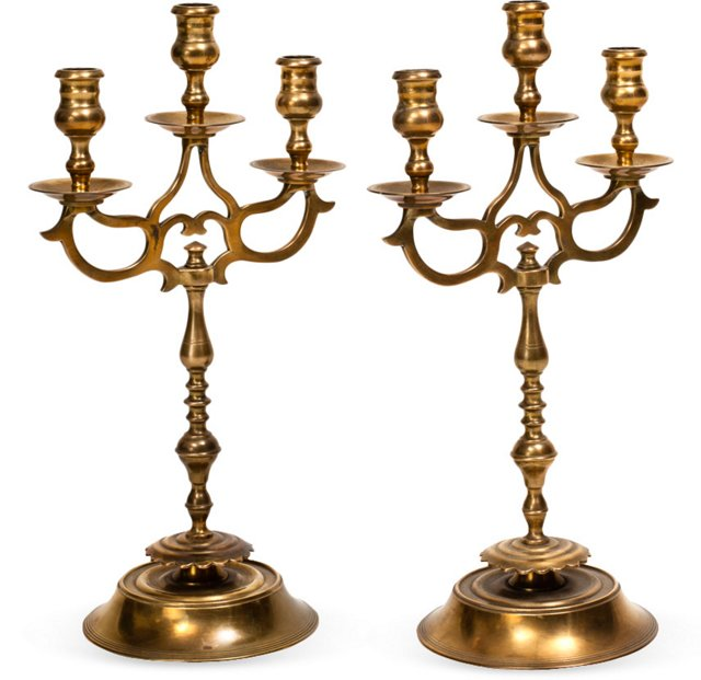 Vintage Continental Candlesticks, Pair