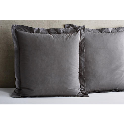 S/2 Nap Percale Euro Shams, Coal