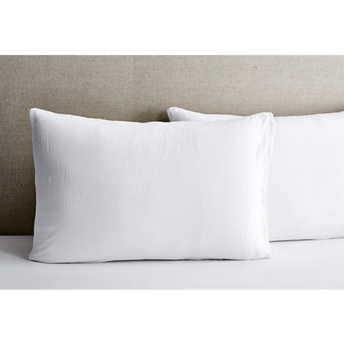 S/2 Washed Linen Shams, White