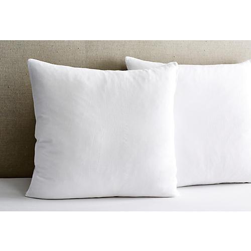 Washed Linen Euro Shams, White