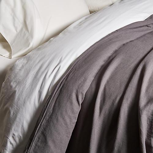 Washed Linen Duvet Cover, Coal