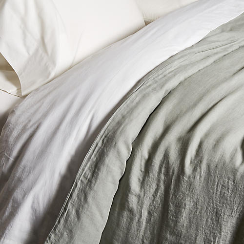 Washed Linen Duvet Cover, Gray