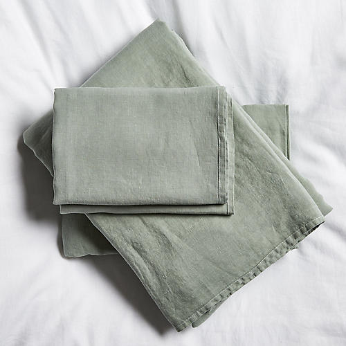 Washed Linen Sheet Set, Olive