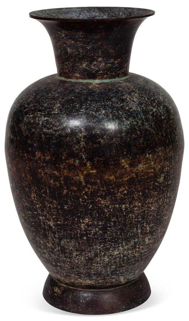 1960s Rustic Brass Vase