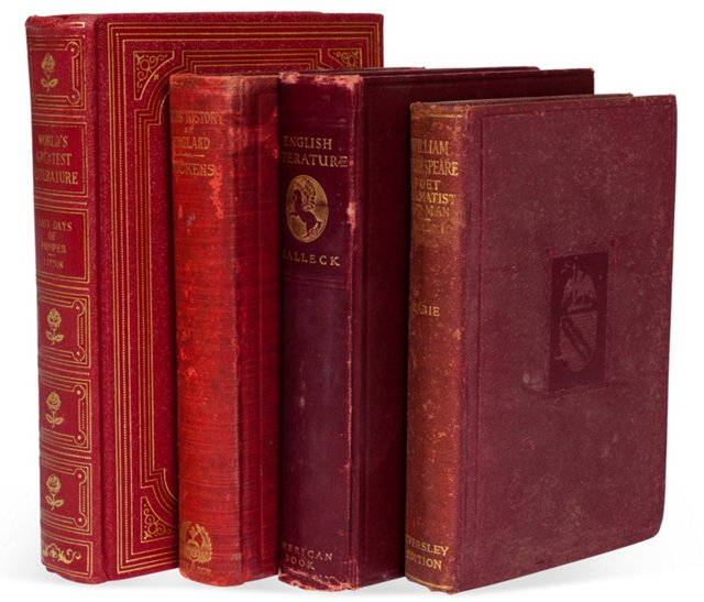 Vintage Decorative Books, Set of 4, I