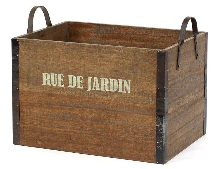 """""""Rue de Jardin"""" Wooden Crate, Brown"""