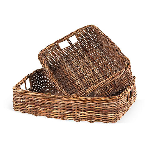 Asst. of 2 Country Storage Baskets, Brown