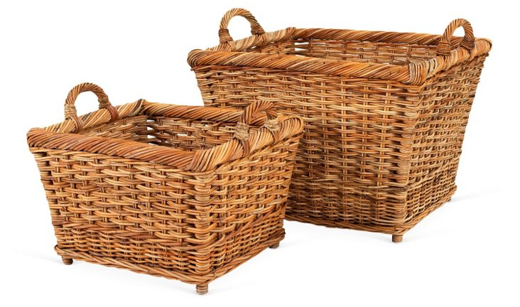 S/2 French Country Hearth Baskets, Brown