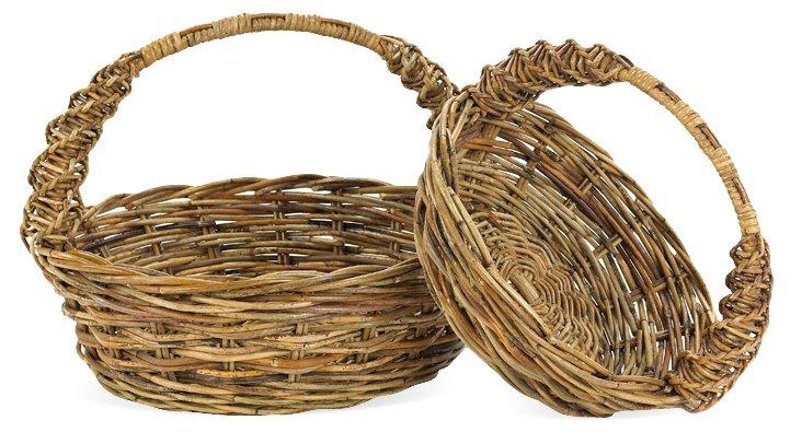 S/2 Loire Valley Round Baskets