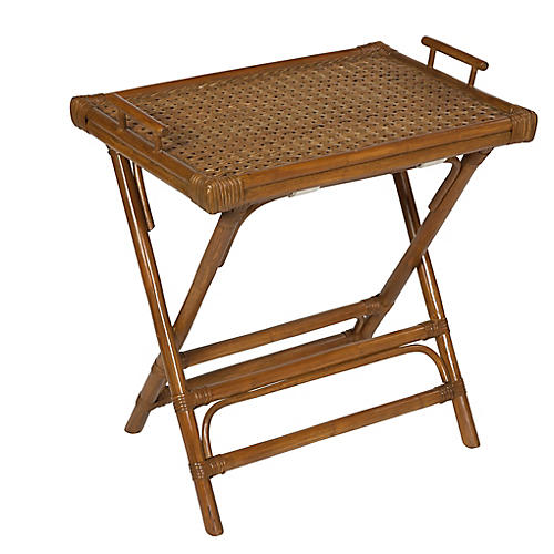 Rattan Tray Side Table, Chestnut