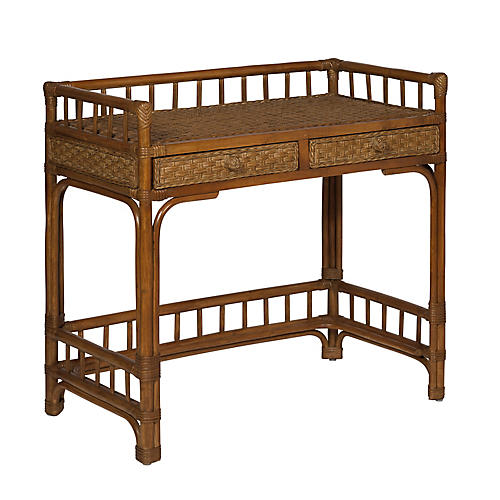 Rattan Writing Desk, Chestnut