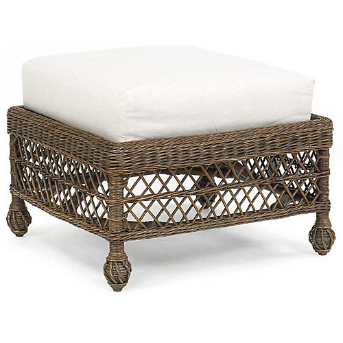 Vineyard's Wicker Ottoman, Walnut