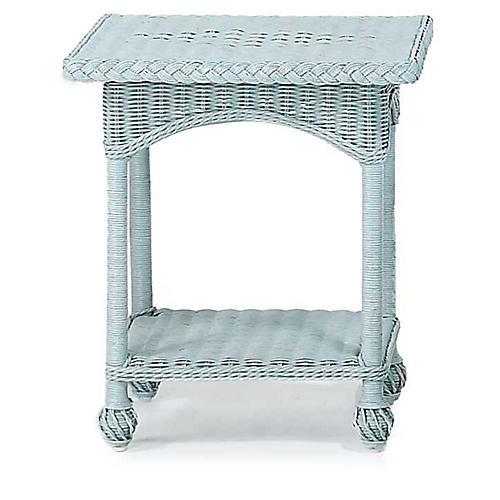 Wicker Side Table, Blue