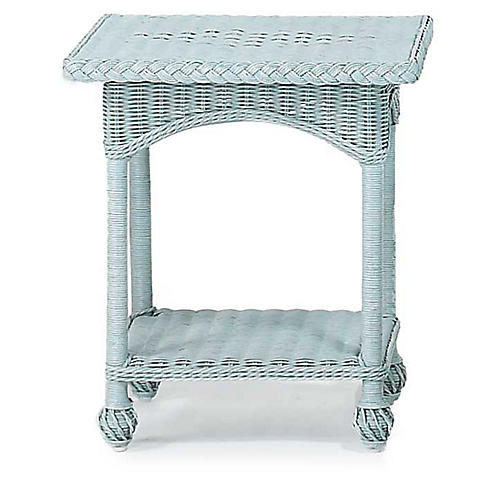 Wicker Side Table, Blue