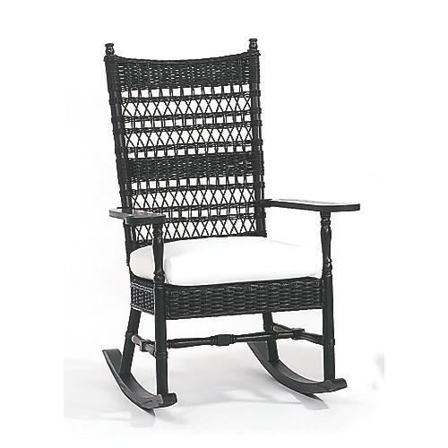 Vineyard's Wicker Rocking Chair, Black