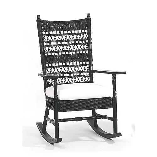 Vineyard's Wicker Rocking Chair, Black