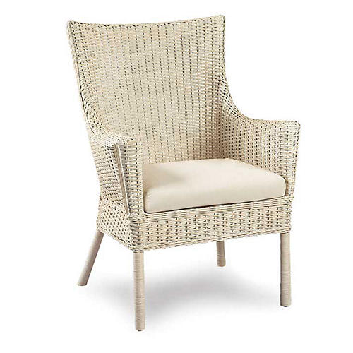 Loft Wicker Armchair, Antiqued White