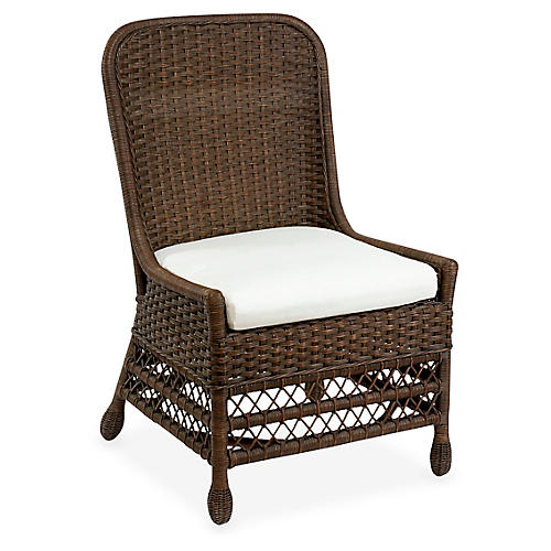 Catalina Wicker Side Chair, Dark Walnut