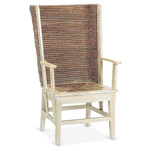 Orkney Raffia Wingback Armchair, Antiqued White