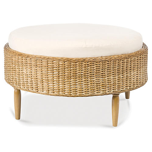 Wicker Ottoman, White