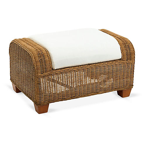 Beachcomber Wicker Ottoman, Natural