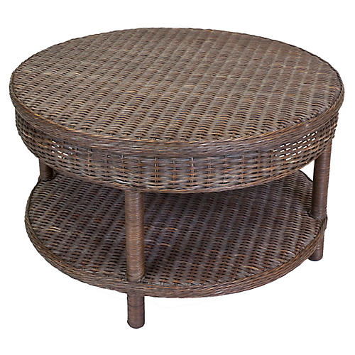 Sausalito Wicker Coffee Table, Dark Walnut